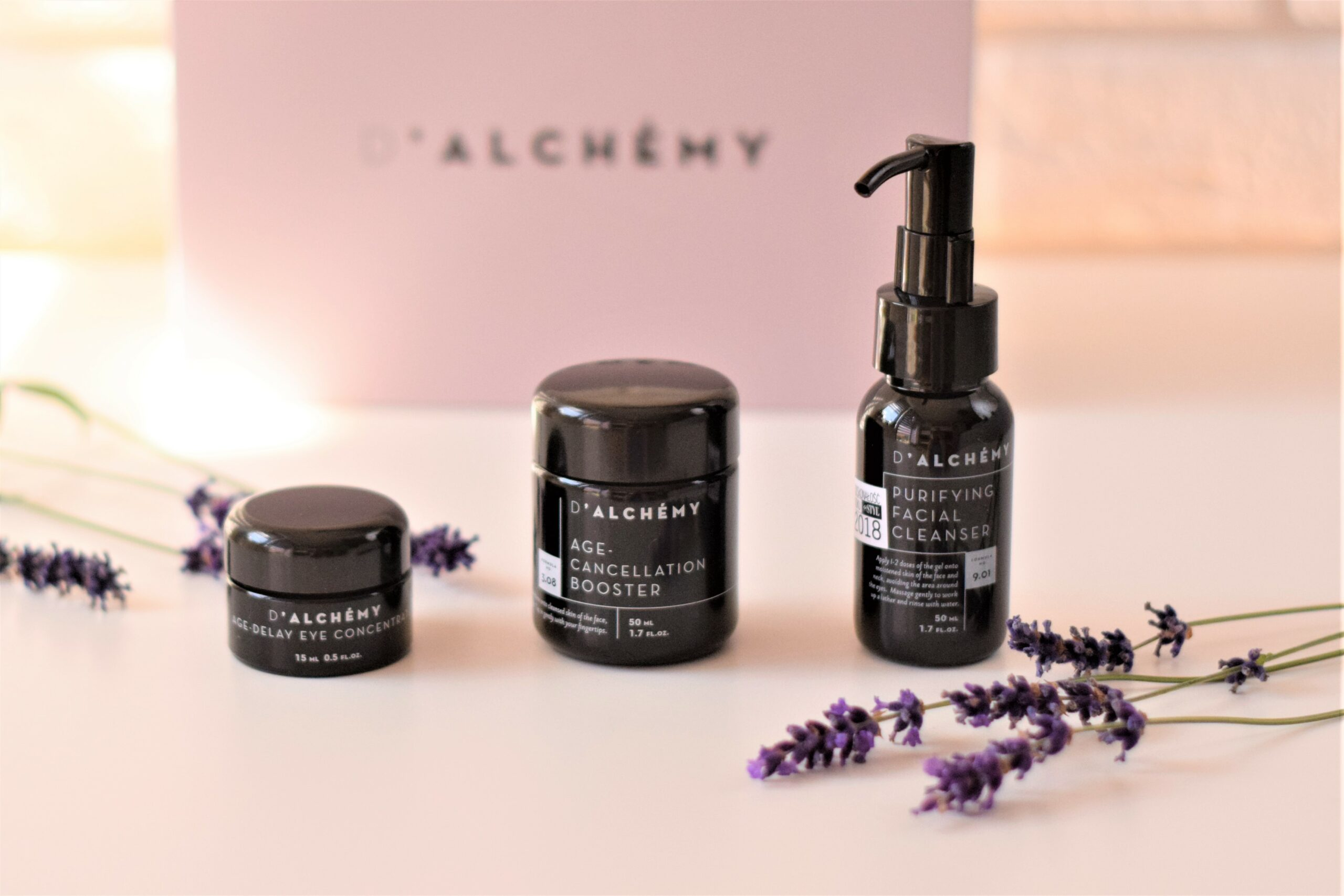 D'ALCHÉMY – AGE‑DELAY EYE CONCENTRATE, PURIFYING FACIAL CLEANSER i AGE CANCELLATION BOOSTER
